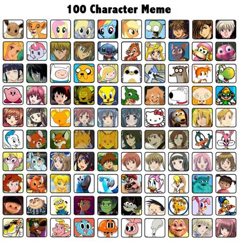 Memes Characters - 100 character meme by evey chan on deviantart