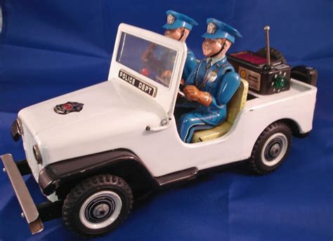 police jeep toy vintage 60s tin toy battery operated jeep police patrol