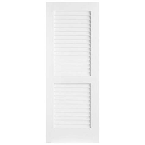 Louvered Doors Home Depot Interior Masonite 24 In X 80 In Plantation Smooth Louver Solid Primed Pine Interior Door Slab