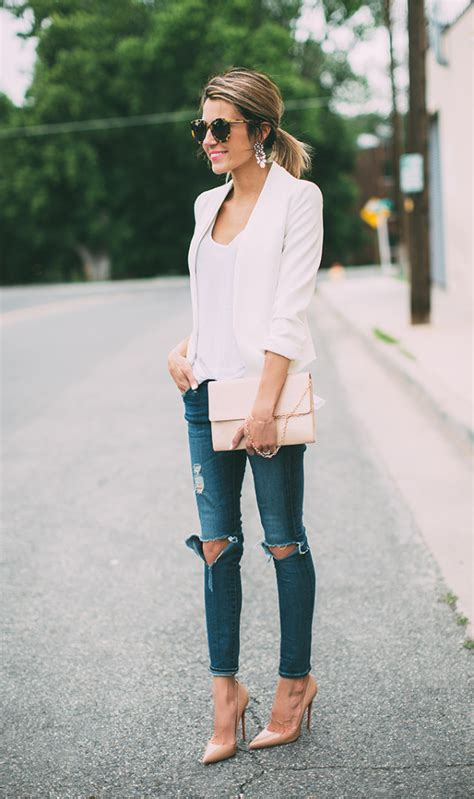 white blazer neutral colored tank black jeans pants how to style your blazer and jeans tips for girls just