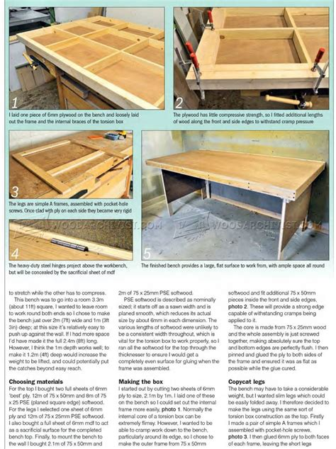 bench solution folding workbench fold down worktable plans woodarchivist
