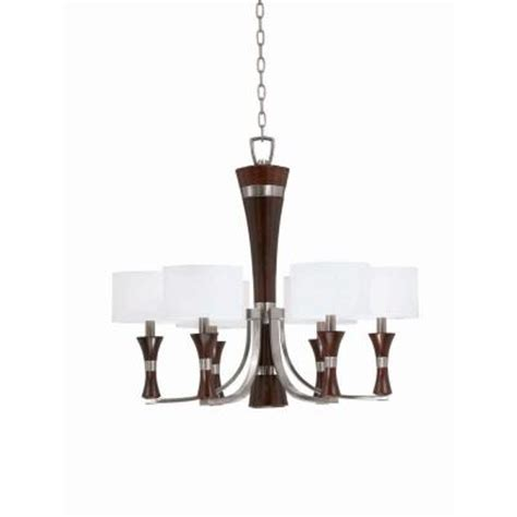 Linen Drum Shade Chandelier Illumine 6 Light Brushed Steel And Wood Chandelier With Linen Drum Shade Cli Tr32703 The Home