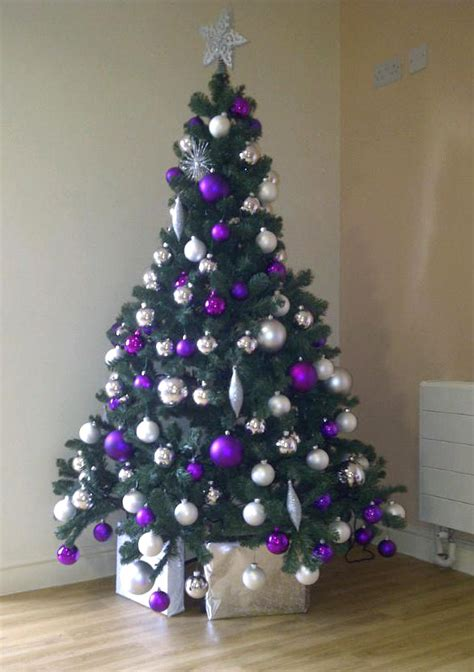 purple and tree decorations purple and silver and gold tree