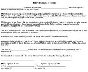 modeling contract template model employment contract