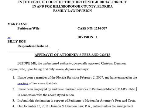 Divorce Affidavit Letter Affidavit Of Attorneys Fees