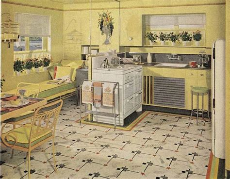 yellow vintage kitchen 1940s flooring meze blog