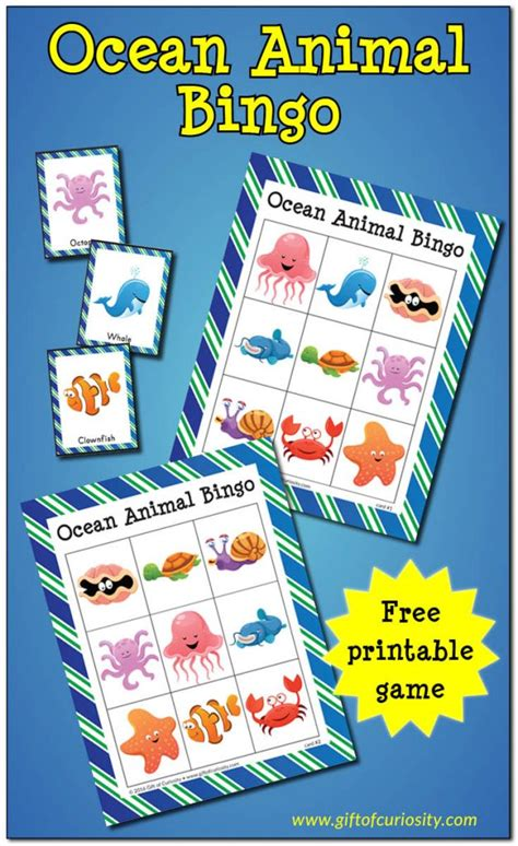 printable ocean games free ocean animal bingo free homeschool deals