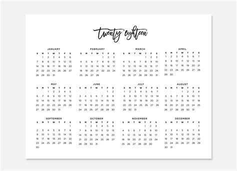 printable calendar year at a glance 2018 2018 simple calendar 2018 landscape calendar 2018 calendar