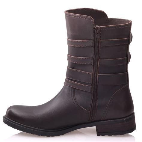 unze womens ropper leather buckled mid calf boots uk size