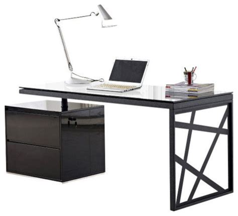 Black Modern Desk J M Furniture Kd01 Modern Office Desk In Black Contemporary Desks And Hutches By Beyond Stores
