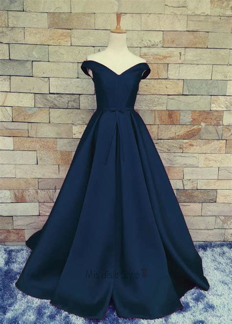 sexy  shoulder sleeves navy blue prom dress