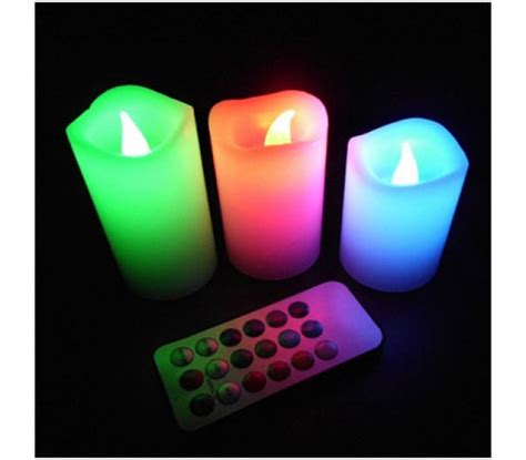 Color Changing Led Candle With Remote Set Of 3 Pcs 12 color changing set of 3 led wax candles with remote