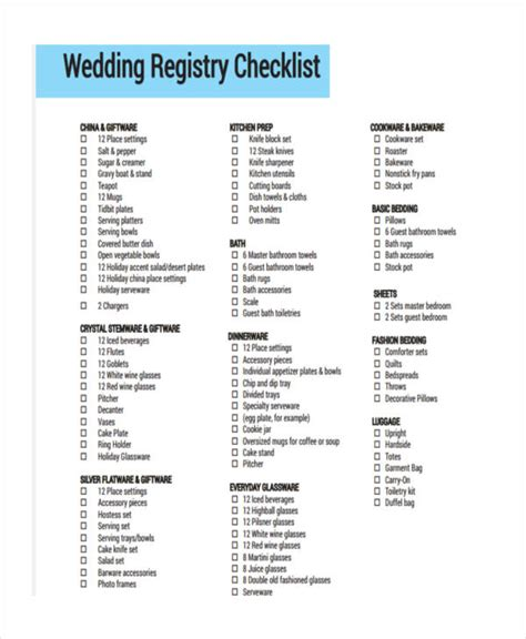 Wedding Registry List by 6 Registry Checklist Exles Sles