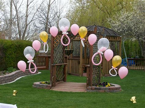 Backyard Balloon Decorating With Balloons When Planning A Baby Shower