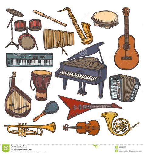 clipart strumenti musicali icona di schizzo degli strumenti musicali illustrazione