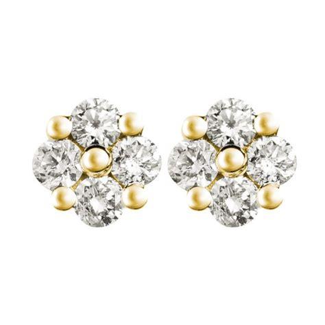 flower design ear studs 0 66ct f i1 diamond cluster stud earrings with flower