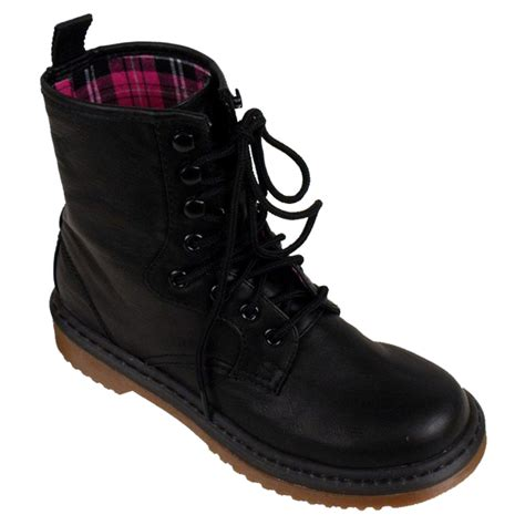 womens lace up ankle boots combat black