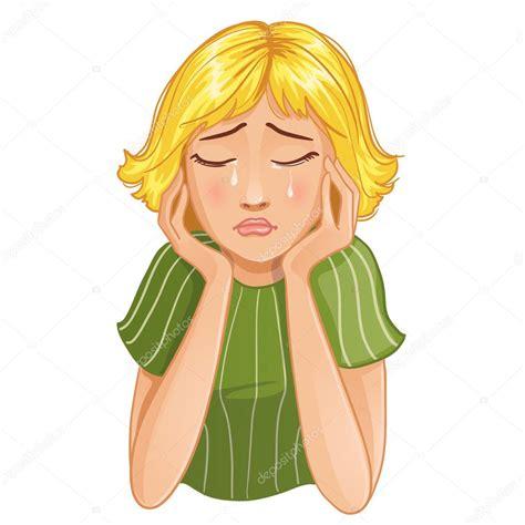 imagenes de niña triste triste llora ni 241 a de dibujos animados vector de stock