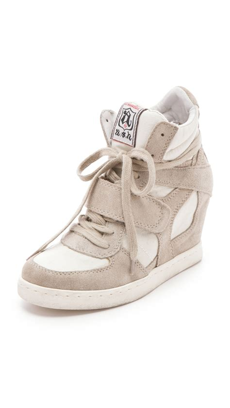 ash cool suede wedge sneakers with canvas insets in beige