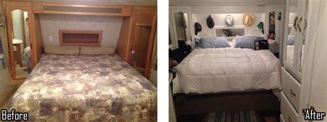 in the bedroom trailer amazing fifth wheel remodel on a shoestring budget of 650