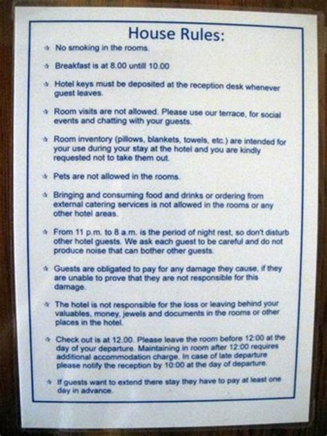 house rules home design unfriendly list of quot house rules quot on door picture of
