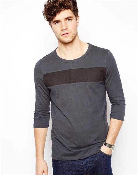 3 4 Sleeve Panel T Shirt asos asos 3 4 sleeve t shirt with mesh panel at asos
