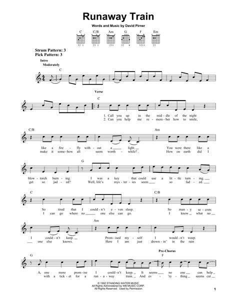 Runaway Train   Sheet Music Direct