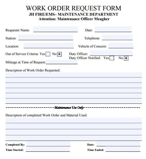 work order template tryprodermagenix org