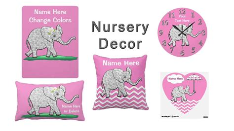 Pink Elephant Nursery Decor Pink And Gray Elephant Nursery Decor For
