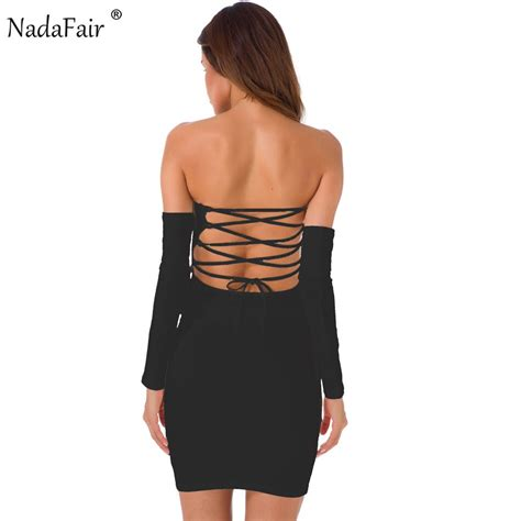 nadafair 95 cotton lace up shoulder slash neck club bodycon dress slash neck backless