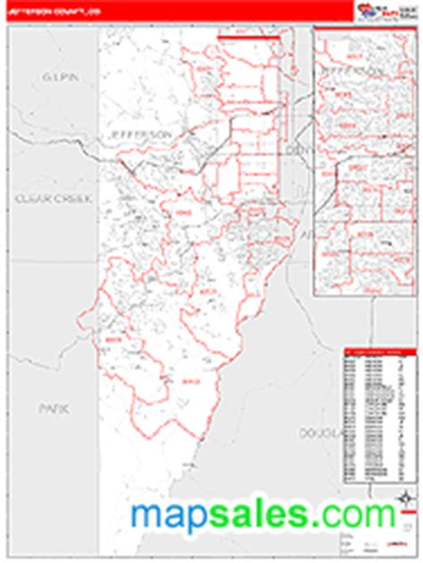 Zip Code Map Jefferson County Colorado | jefferson county co zip code wall map red line style by