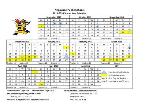 Calendar 2015 16 School Year 2015 16 School Calendar Negaunee Schools