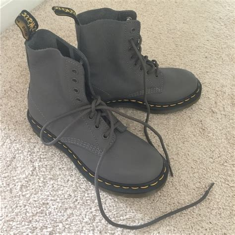dr martens new grey soft leather doc dr martens boots