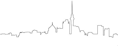 Auckland Skyline Outline by Toronto Skyline Silhouette Free Vector Silhouettes