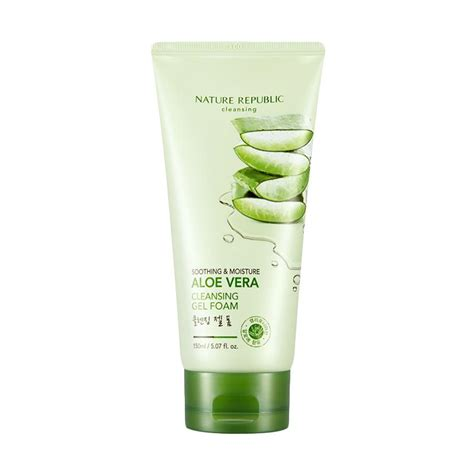 Gel Pembersih Wajah 150ml jual nature republic soothing moisture aloe vera cleansing gel foam 150 ml harga