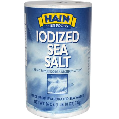 salt l hain pure foods iodized sea salt 26 oz 737 g iherb com