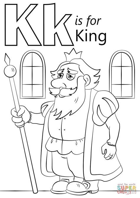 coloring pictures letter k letter k is for king coloring page free printable