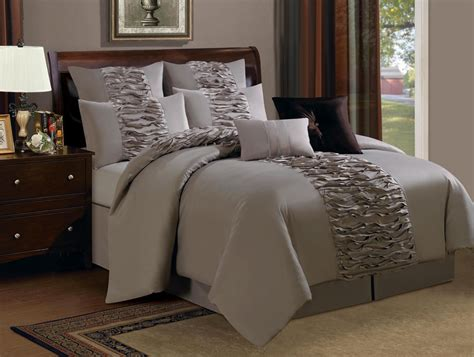 12 piece queen astor ruffled taupe bed in a bag set ebay
