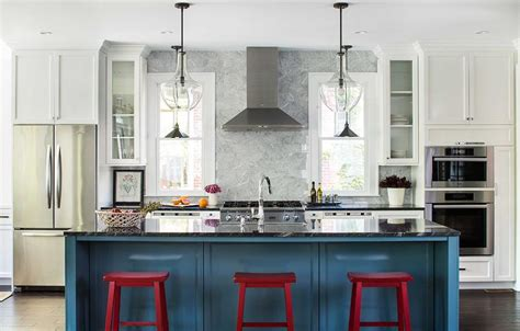 Blue Kitchen Islands by Blue Kitchen Island With Red Sawhorse Stools