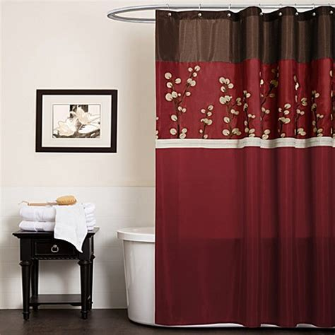 Buy Cocoa Flower Red Fabric Shower Curtain From Bed Bath