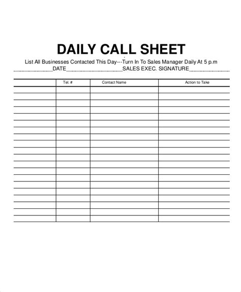 daily call report template call log sheet template 5 free word pdf excel
