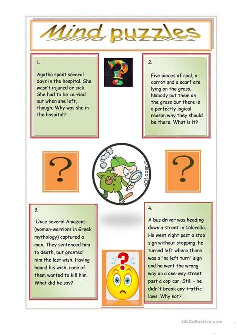 printable reindeer games they re like fun riddles who 51 free esl brainteasers worksheets