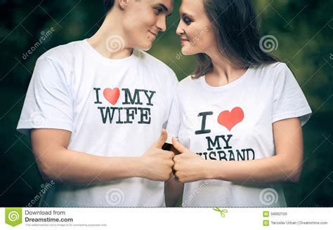 images of love with husband and wife married couple with words on the t shirt i love my stock