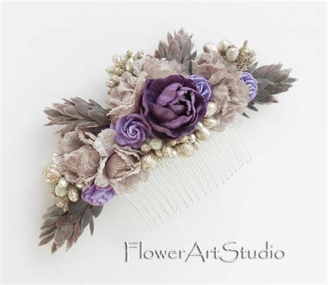 shabby chic purple shabby chic flower comb cottage shic purple bridal