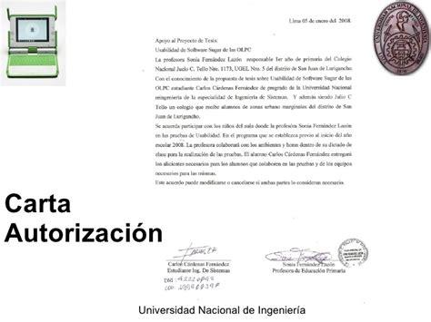 carta de autorizacion de un proyecto sustentacion de tesis ingenieria de usabilidad
