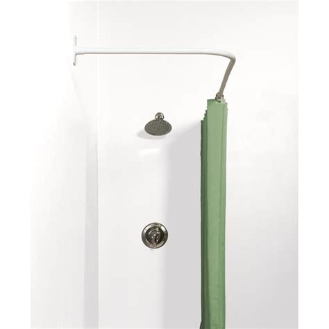 fixed shower curtain rod shop zenith 66 in white l shaped fixed shower rod at lowes com