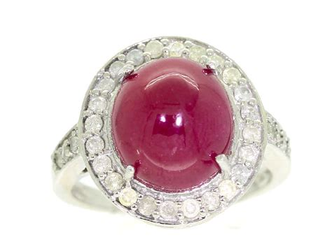 Ruby 7 25ct 10 25ct ruby ring in 14k white gold ebay