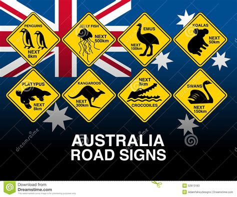 printable road signs australia australian yellow road warning signs with flag stock