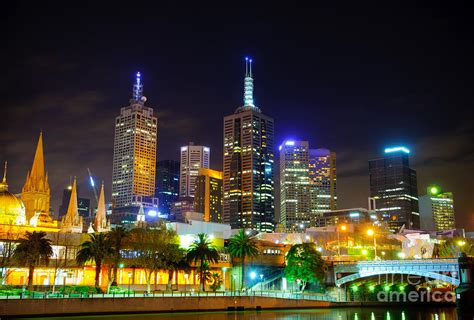 melbourne city skyline skyscapers and lights photograph