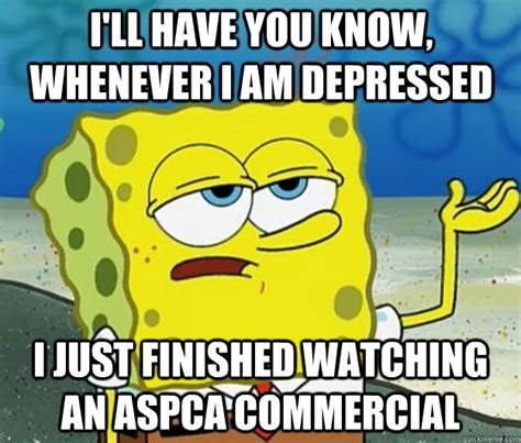 Aspca Meme - i ll have you know whenever i am depressed i just finished watching an aspca commercial tough